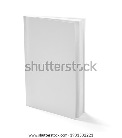 close up of a white book template on white background Royalty-Free Stock Photo #1931532221