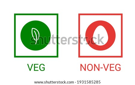 Veg, non-veg - Vegetarian and non-vegetarian marks in India, Sri Lanka, Pakistan. Green sign for packaged food and toothpaste products. Vector food icon symbol Royalty-Free Stock Photo #1931585285