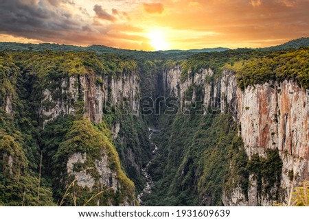 Beautiful view of the Itaimbezinho Canyons in Cambará do Sul. Brazil. Sunset in Canyons. Royalty-Free Stock Photo #1931609639