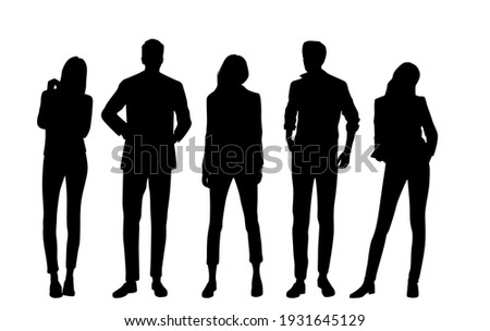 Vector silhouettes of  men and a women, a group of standing  business people, black  color isolated on white background Royalty-Free Stock Photo #1931645129