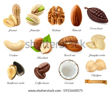 Nuts, seeds and beans 3d vector realistic objects set. Peanut, pistachio, walnut, almond, cocoa bean, cashew, hazelnut, brazil nut, pumpkin seeds, sunflower seeds, coffee, coconut, chickpea Royalty-Free Stock Photo #1931660075