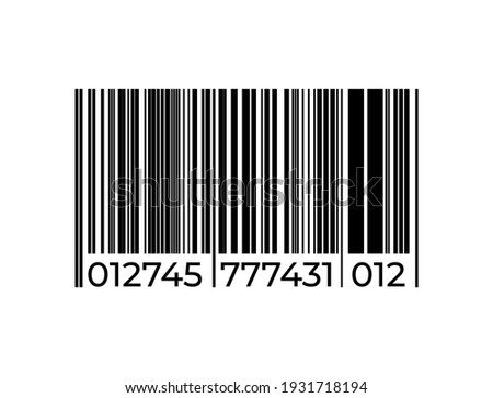Black barcode icon. Graphic bar code sign. Product labeling, sign for scanning in supermarket. Series of vertical straight lines and numbers. Isolated shop tag, vector identification label template