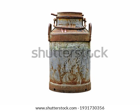 Picture of old rusty milk can isolated on white background