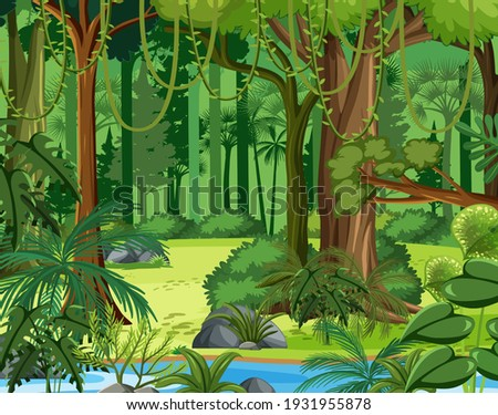 Tropical rainforest scenes in jungle forest Royalty-Free Stock Photo #1931955878