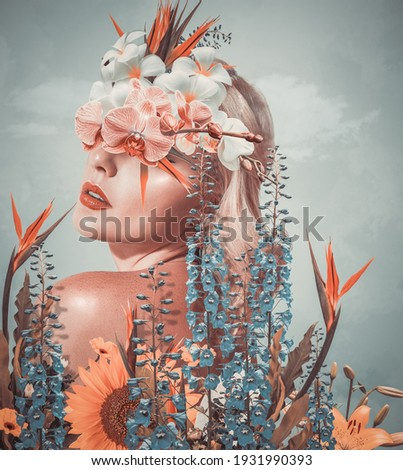 Abstract contemporary art collage portrait of young woman with flowers Royalty-Free Stock Photo #1931990393