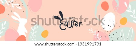 Happy Easter banner. Trendy Easter design with typography, hand painted strokes and dots, eggs and bunny in pastel colors. Modern minimal style. Horizontal poster, greeting card, header for website Royalty-Free Stock Photo #1931991791