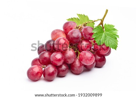 Red grape with leaves isolated on white background. Royalty-Free Stock Photo #1932009899