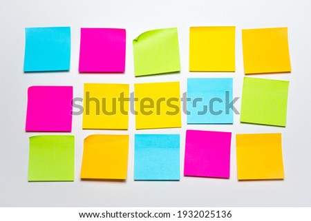 Set of colorful blank sticky notes background. Empty sticky notepad paper copy space collection stuck on wall Royalty-Free Stock Photo #1932025136