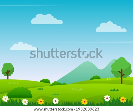 Nature landscape vector illustration with cartoon style. Beautiful spring landscape cartoon with green grass and blue sky Royalty-Free Stock Photo #1932039623