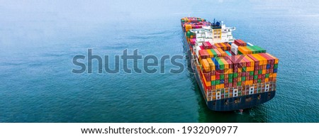 Aerial view container ship carrying container box global business cargo freight shipping commercial trade logistic and transportation oversea worldwide container vessel, Container cargo freight ship. Royalty-Free Stock Photo #1932090977