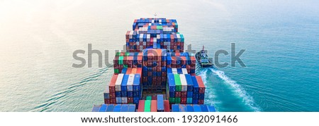 Aerial view container ship, Global business import export logistic transportation of international by container cargo ship in the open sea, Marine cargo vessel company freight shipping. Royalty-Free Stock Photo #1932091466