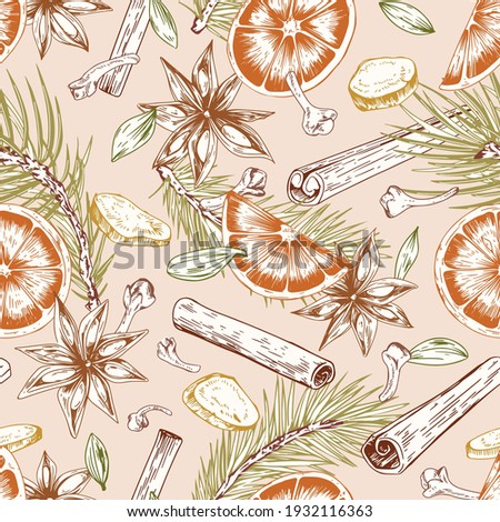 Seamless pattern with winter Christmas spices. Endless repeatable design with pine branches, cinnamon sticks, cardamom seeds, cloves, aniseed, orange and ginger pieces. Drawn vector illustration Royalty-Free Stock Photo #1932116363