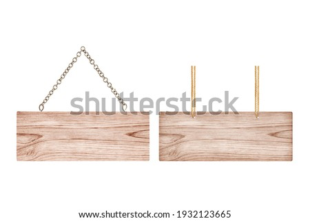 Wooden sign with chain and Wooden sign with rope isolated on white ,clipping path included.