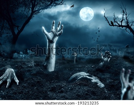 Zombie hand coming out of his grave #193213235