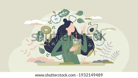 Green smoothie as healthy diet cocktail for slimming tiny person concept. Vegan detox food and drink in glass as organic and vitamin full beverage from straw vector illustration. Raw ingredient blend. Royalty-Free Stock Photo #1932149489
