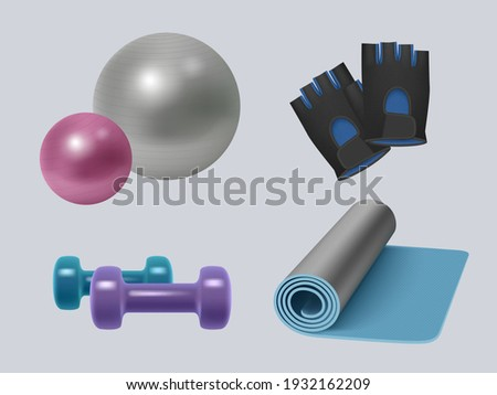 Fitness equipment. Realistic gym accessories energy sport symbols for healthy lifestyle dumbbells scales apple skipping rope decent vector illustrations set Royalty-Free Stock Photo #1932162209