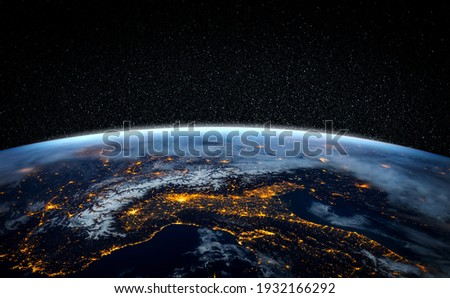 Planet earth globe view from space showing realistic earth surface and world map as in outer space point of view . Elements of this image furnished by NASA planet earth from space photos. Royalty-Free Stock Photo #1932166292