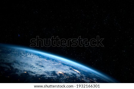 Planet earth globe view from space showing realistic earth surface and world map as in outer space point of view . Elements of this image furnished by NASA planet earth from space photos. Royalty-Free Stock Photo #1932166301