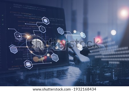 AI, Artificial Intelligence, digital software technology, mobile app development, Internet of Things IoT. Programmer, software engineer coding on laptop computer with technology icons and binary code