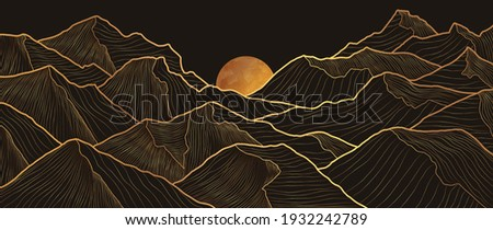 Mountain line art background, luxury gold wallpaper design for cover, invitation background, packaging design, wall art and print. Vector illustration. Royalty-Free Stock Photo #1932242789