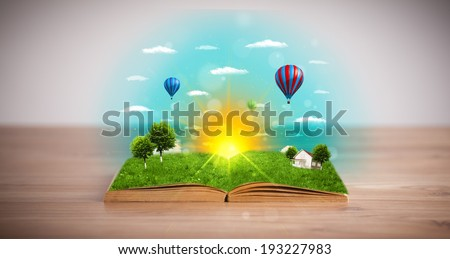 Open book with green nature world coming out of its pages, ecological concept #193227983