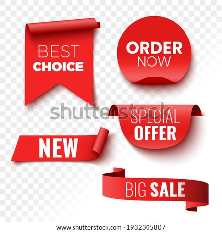 Best choice, order now, special offer, new and big sale banners. Red ribbons, tags and stickers. Vector illustration. Royalty-Free Stock Photo #1932305807