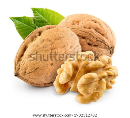 Walnut with leaf isolate. Walnuts peeled and unpeeled with leaves on white. Walnut nut side view. With clipping path. Full depth of field. Royalty-Free Stock Photo #1932312782