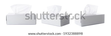 Opened tissue box on white background for print design and mock up Royalty-Free Stock Photo #1932388898