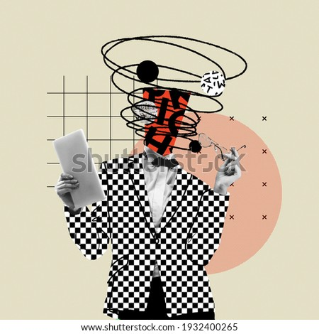 Online lifestyle. Comics styled bright plaid suit. Modern design, contemporary art collage. Inspiration, idea concept, trendy urban magazine style. Negative space to insert your text or ad. Royalty-Free Stock Photo #1932400265