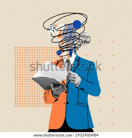 Preparing reports. Comics styled bright orange and blue suit. Modern design, contemporary art collage. Inspiration, idea concept, trendy urban magazine style. Negative space to insert your text or ad. Royalty-Free Stock Photo #1932400484