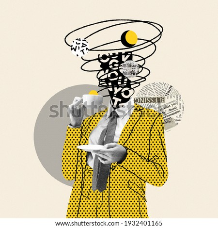 Taking a break. Comics styled yellow dotted suit. Modern design, contemporary art collage. Inspiration, idea concept, trendy urban magazine style. Negative space to insert your text or ad. Royalty-Free Stock Photo #1932401165