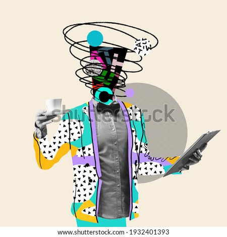 Month report. Comics styled triangled colorful suit. Modern design, contemporary art collage. Inspiration, idea concept, trendy urban magazine style. Negative space to insert your text or ad. Royalty-Free Stock Photo #1932401393