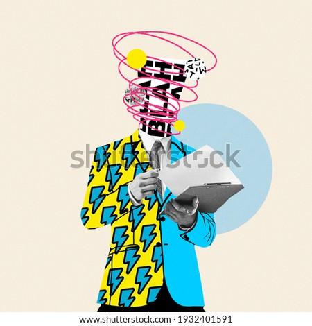 Unstoppable talks in head. Comics styled yellow suit. Modern design, contemporary art collage. Inspiration, idea concept, trendy urban magazine style. Negative space to insert your text or ad. Royalty-Free Stock Photo #1932401591