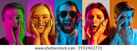 Collage of portraits of young emotional people on multicolored background in neon. Concept of human emotions, facial expression, sales. Laughting, smiling, scared, shocked. Flyer for ad, offer Royalty-Free Stock Photo #1932402731