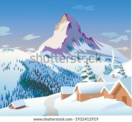 Vector image Matterhorn mountain in the Alps Royalty-Free Stock Photo #1932412919
