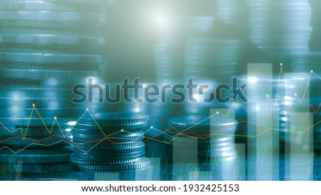 Financial investment concept, Double exposure of stack of coins and city for finance investor, Forex trading market candlestick chart, Cryptocurrency Digital economy. investing growing.economy trends  Royalty-Free Stock Photo #1932425153