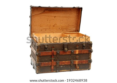 Steamer Trunk.Antique Steamer Trunk. Isolated on white. Steamer Trunks have been used as luggage for years to protect and move clothes and items while traveling the country or the world. Royalty-Free Stock Photo #1932468938