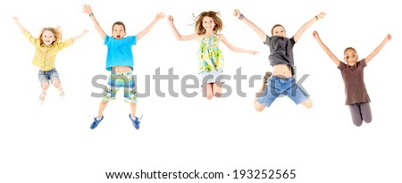 little boy jumping isolated in white #193252565