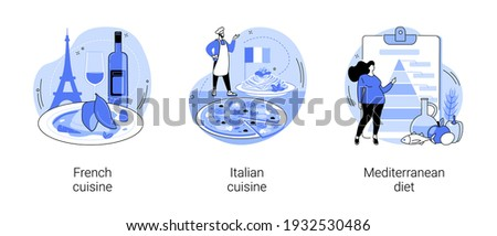 Classic european cuisine abstract concept vector illustration set. French and Italian cuisine, Mediterranean diet, fine dining restaurant, spaghetti recipe, healthy diet, gourmet abstract metaphor. Royalty-Free Stock Photo #1932530486
