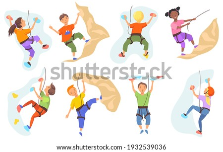Children climbing mountain wall set. Boys and girls climbers training indoors. Vector illustration for mountaineering, extreme sport, leisure activities