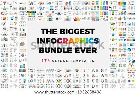 The Biggest Vector Infographics Bundle. 174 presentation slide templates - from diagrams, charts or timelines to maps, arrows and banners. Perfect for any industry from business or marketing to Royalty-Free Stock Photo #1932658406