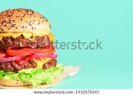 Homemade double burger with cheese, vegetables and sauces isolated on a green background. Delicious cheeseburger on wax paper Royalty-Free Stock Photo #1932670541