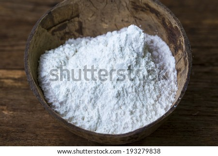 flour in wooden bowl #193279838