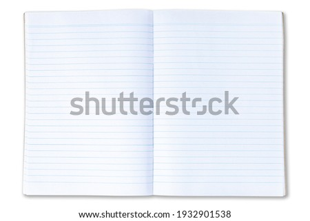 isolated open empty notebook with lined pages Royalty-Free Stock Photo #1932901538