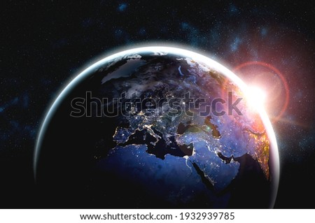 Planet earth globe view from space showing realistic earth surface and world map as in outer space point of view . Elements of this image furnished by NASA planet earth from space photos. Royalty-Free Stock Photo #1932939785