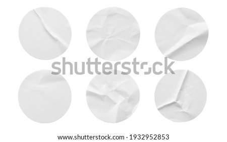 Blank white round paper sticker label set collection isolated on white background Royalty-Free Stock Photo #1932952853