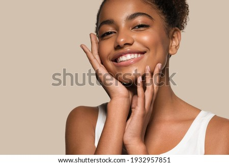 Blackskin beauty woman healthy happy smile clean skin Royalty-Free Stock Photo #1932957851