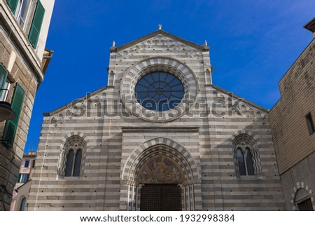 """The church of Sant'Agostino was built by the Augustinians in 1260 and is one of the few Gothic churches in Genoa that survived the construction of """"modern"""" roads. Royalty-Free Stock Photo #1932998384"""