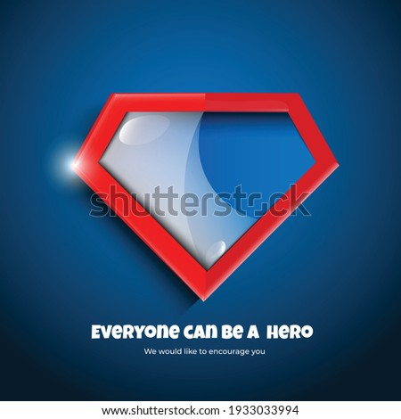 super hero badge tag label and logo on blue pattern