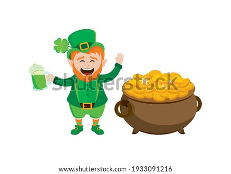 Cheerful leprechaun with a pot of gold and mug of green beer illustration. Happy St. Patrick's Day icon. Laughing cute leprechaun with a pot of gold coins and beer icon isolated on a white background